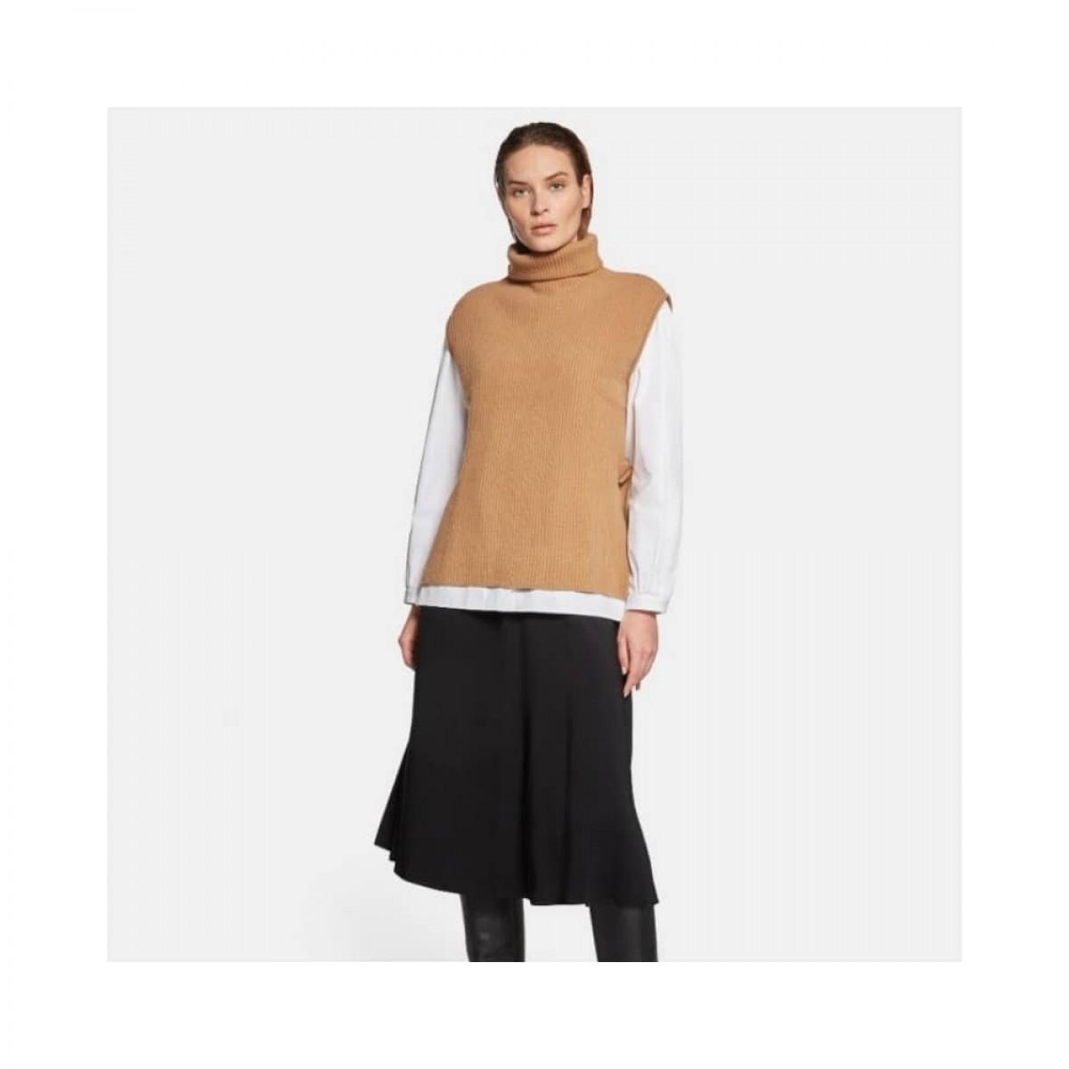 wool high neck gilet vest - camel