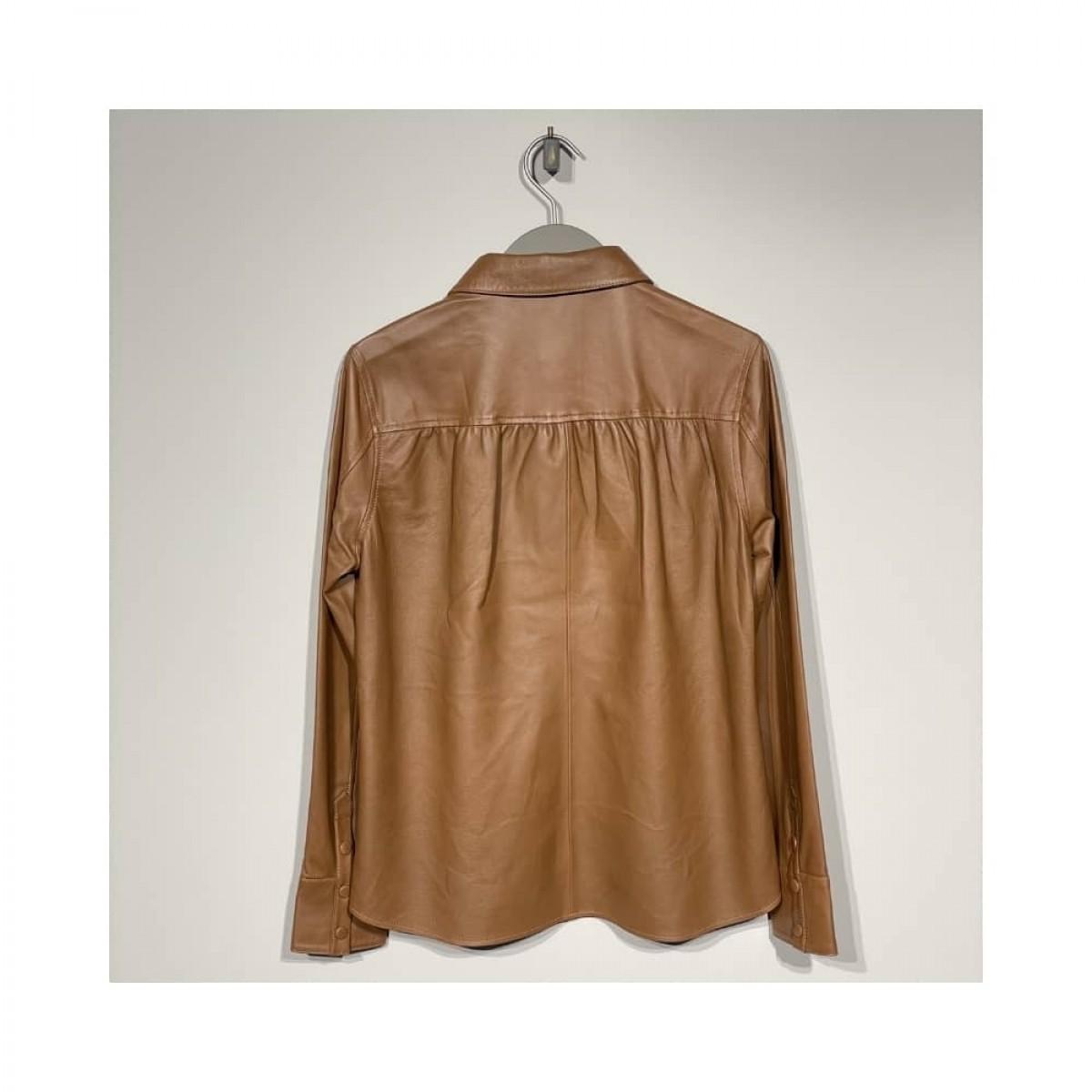 skind skjorte - cognac - ryg