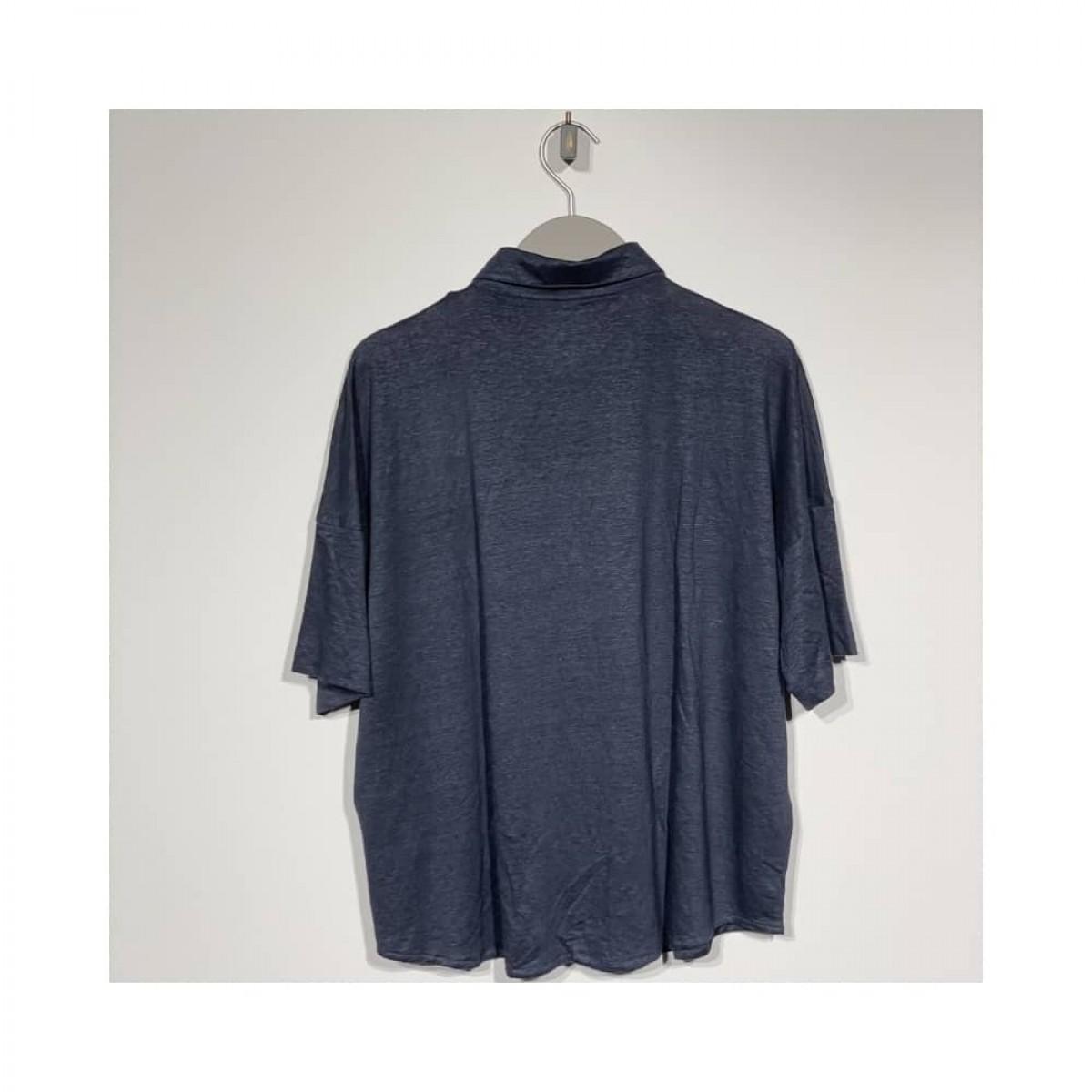 kort ærmet hør skjorte - marine - bag