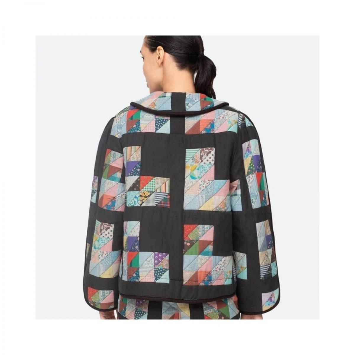tilia jacket - multi blue - model fra ryggen
