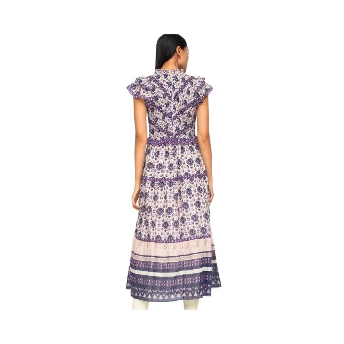 brigitte border kjole - violet - model fra ryggen