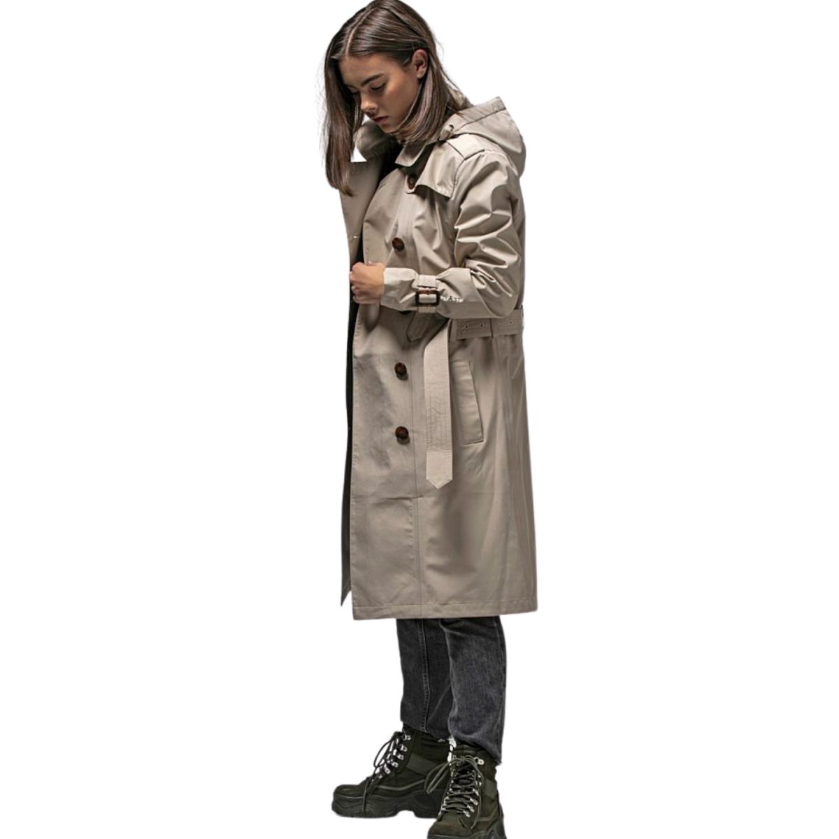 vigra regn frakke beige - model billede - fra siden