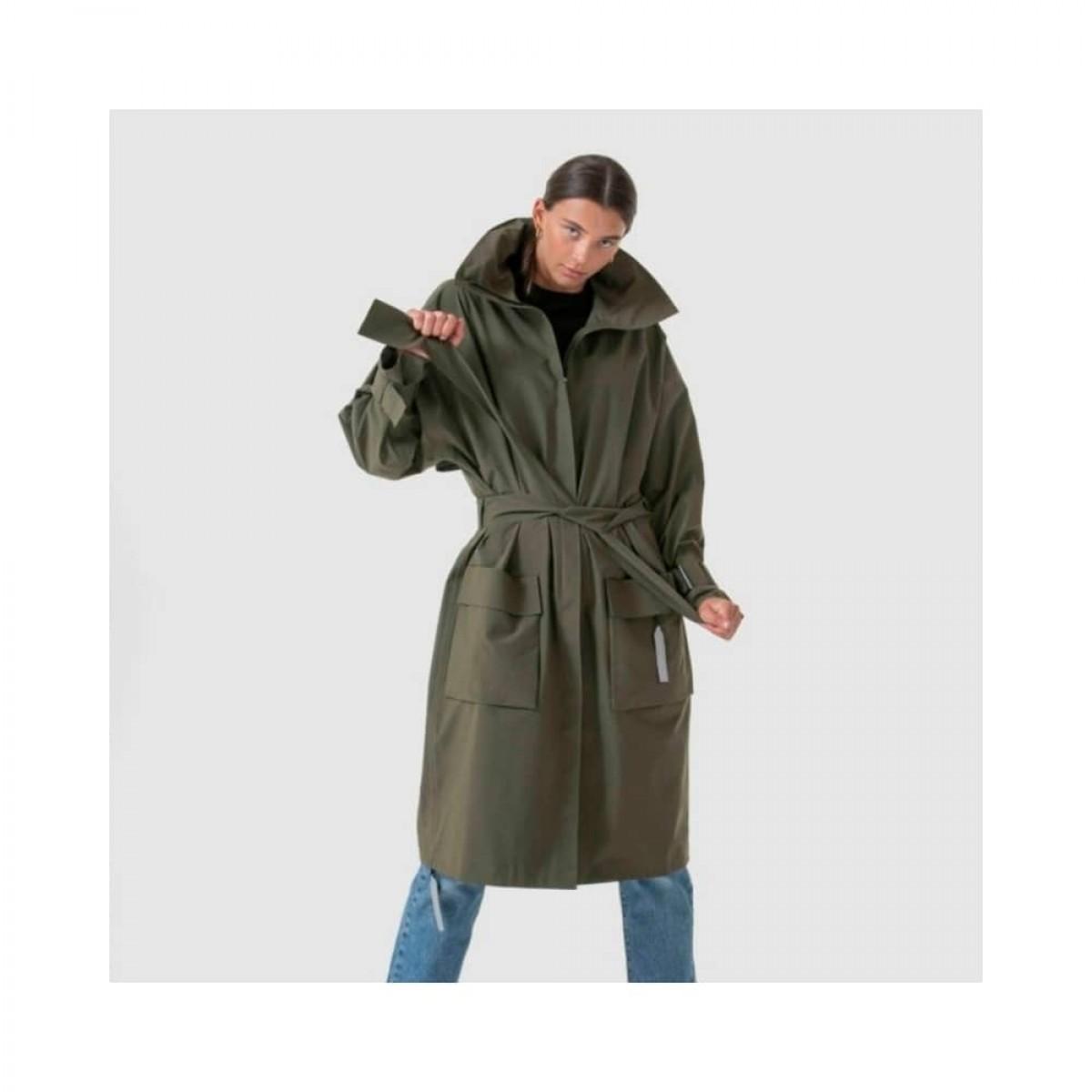 brosundet regn frakke - dark olive - model med bælte