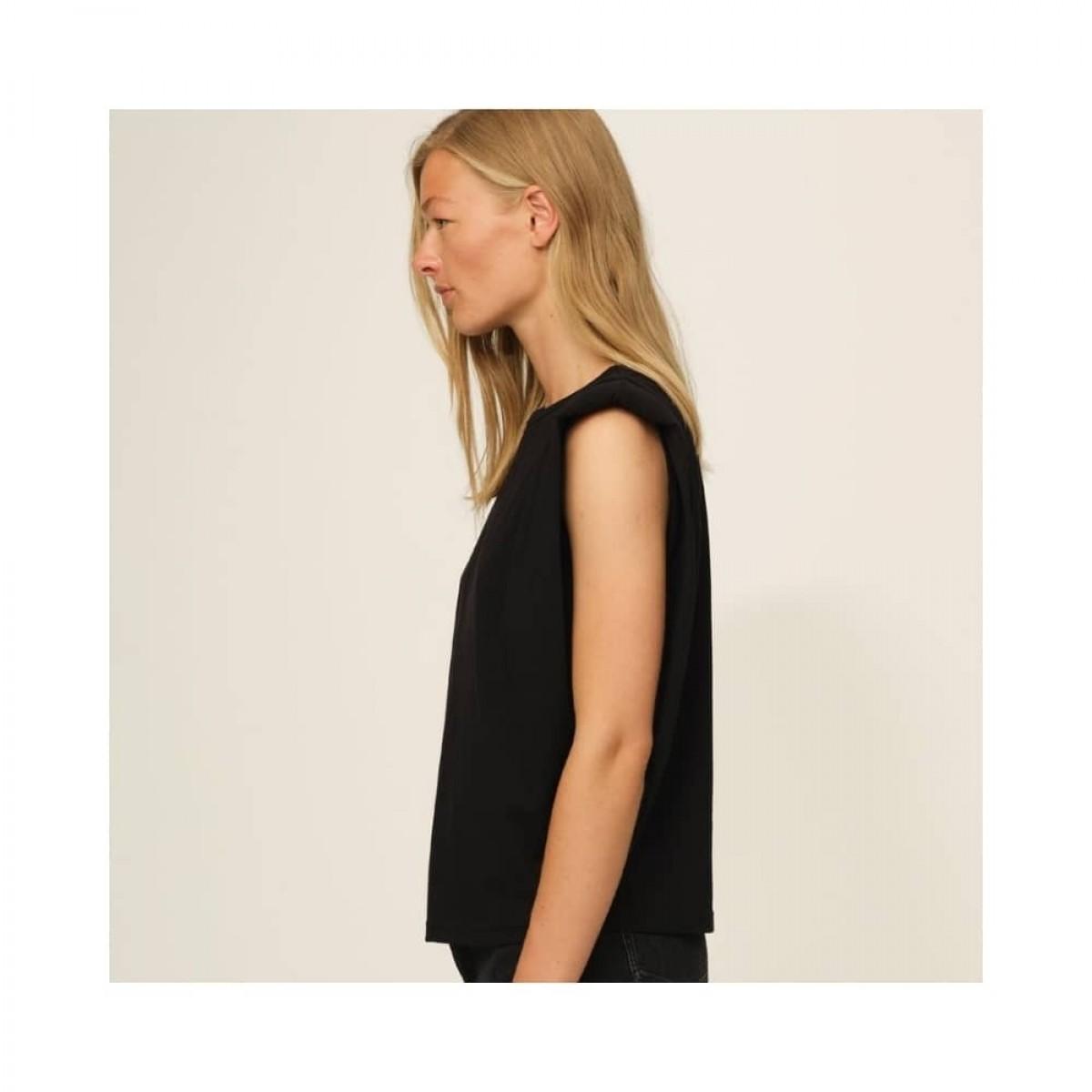 casual shoulder tee - black - model fra siden