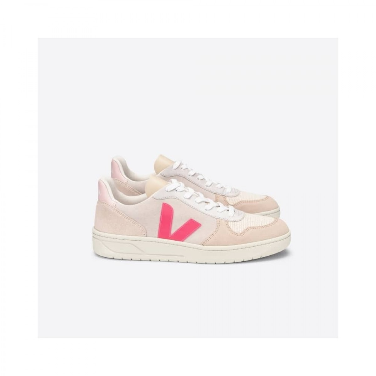 v-10 skind sneakers multico natural rose-fluo - fra siden