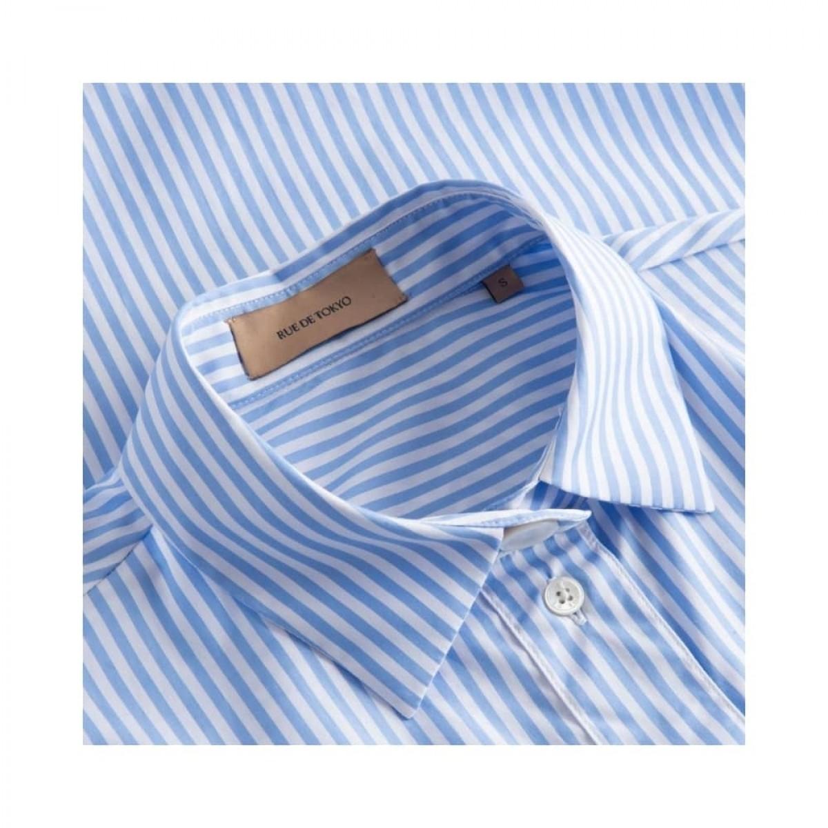 silje kort ærmet skjorte - light blue/white stripe - krave