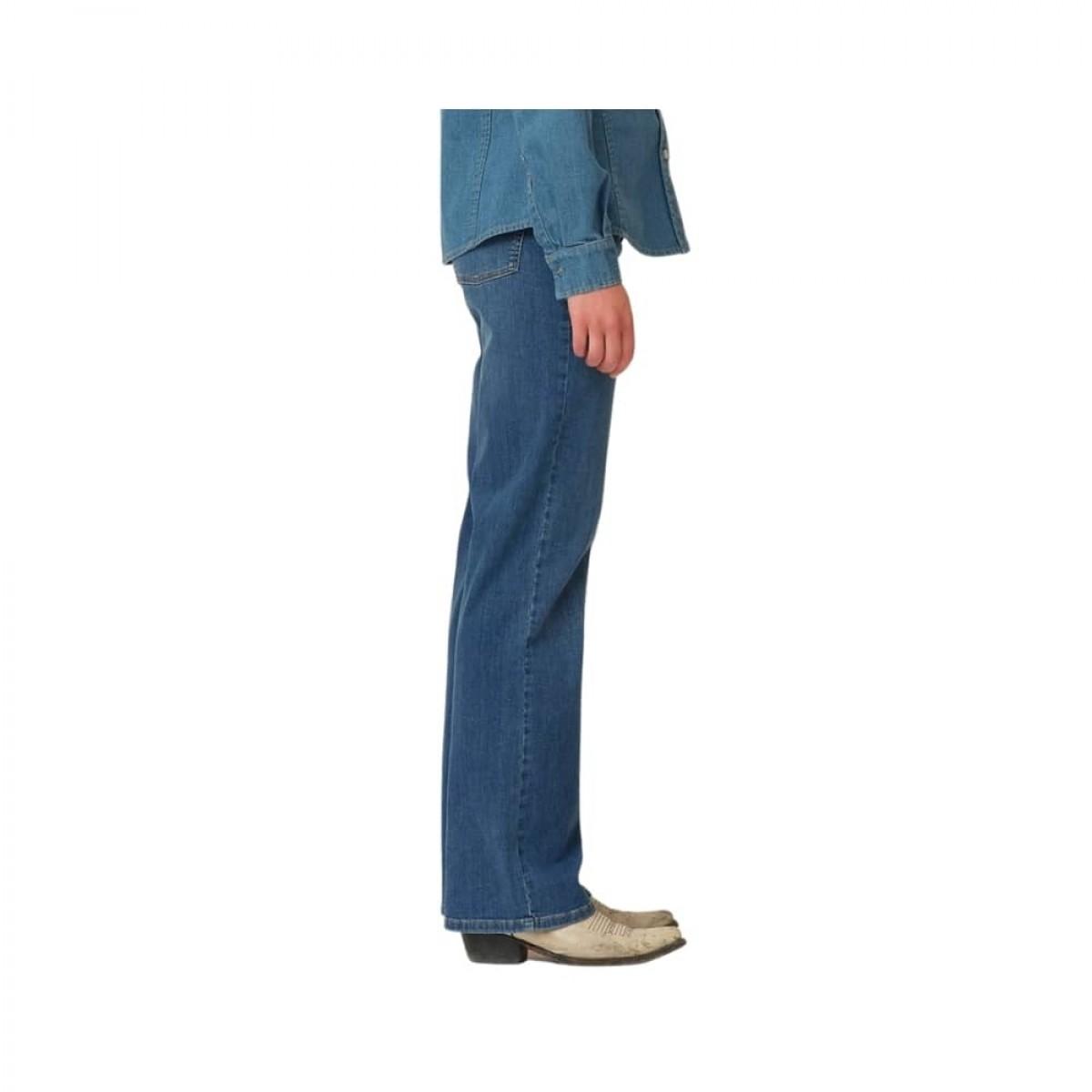 brown straight jeans - denim blue - model fra siden