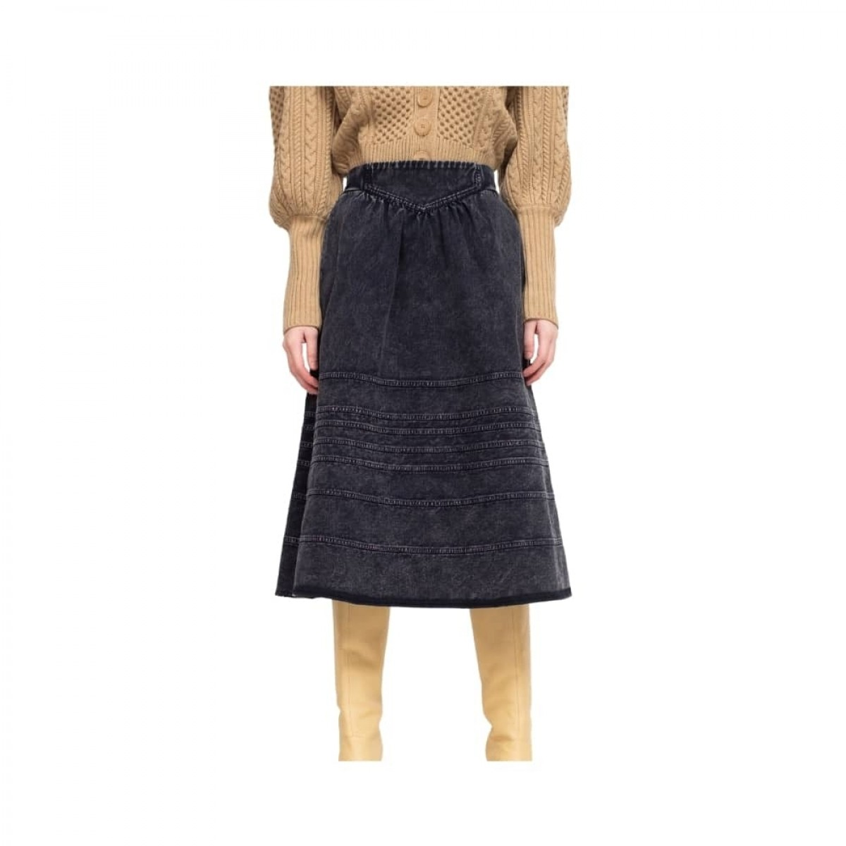 maura denim skirt - navy - front