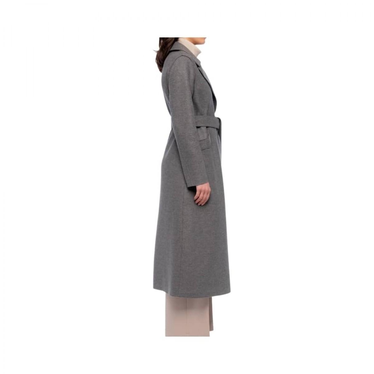 long maxi coat pressed wool - grey melange - model fra siden