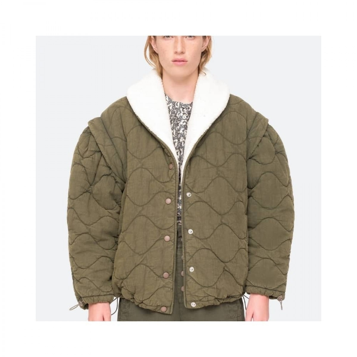 layla quilted jacket - army - model front