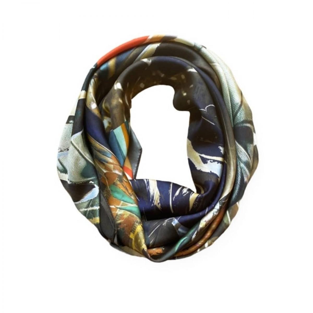 icone silke tørklæde - plume doree - detalje