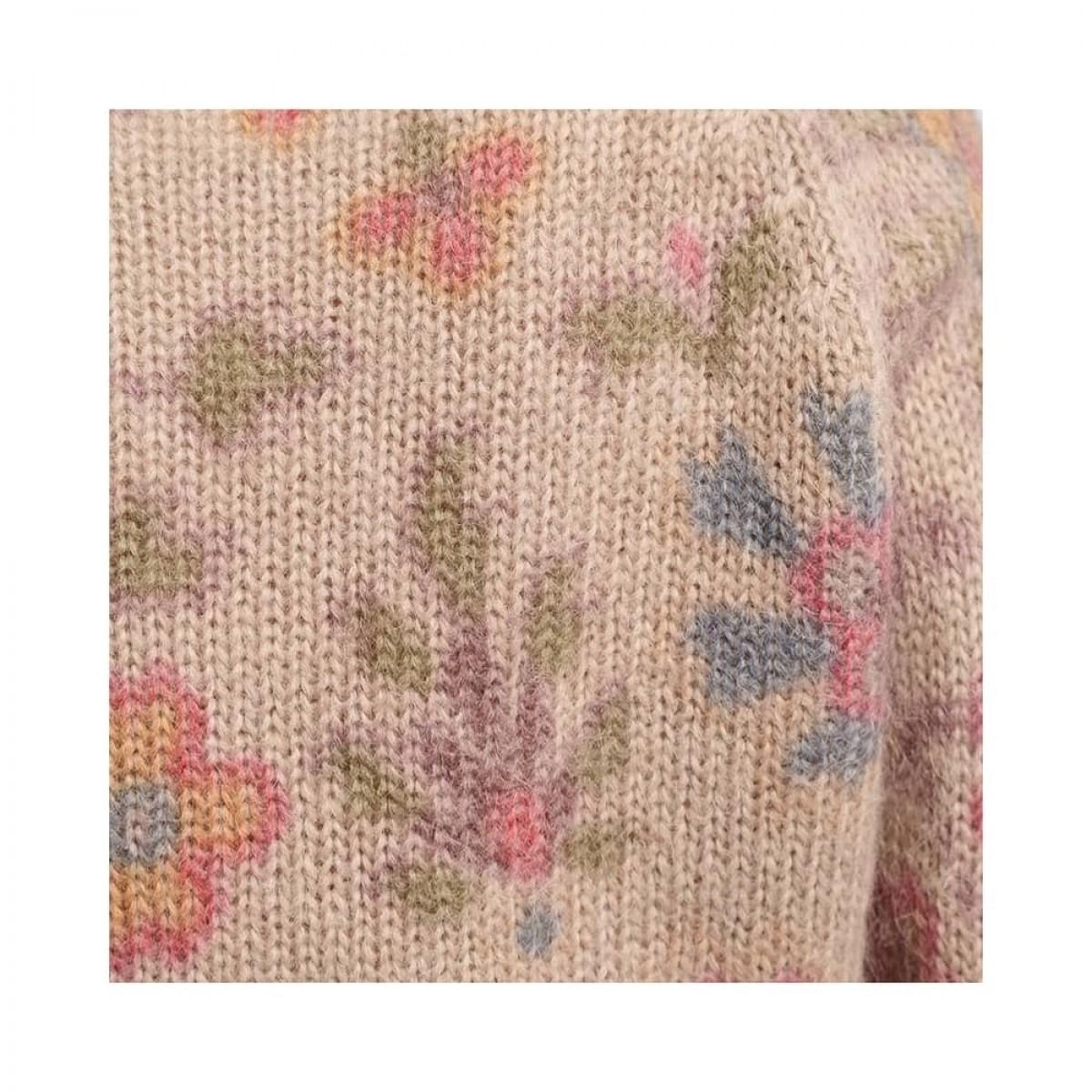 salome jumper - beige - print på strik