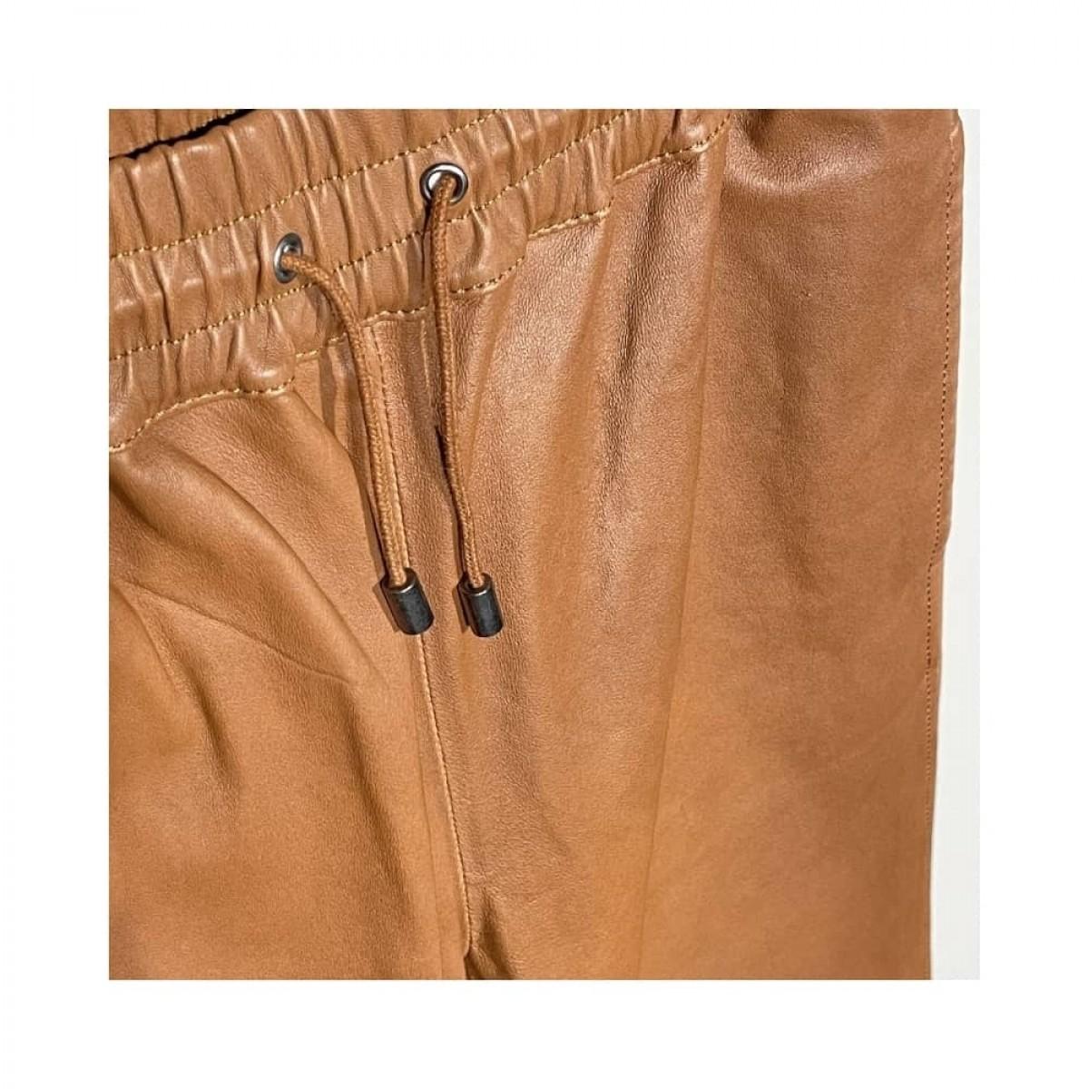 skind bukser - cognac - string detalje
