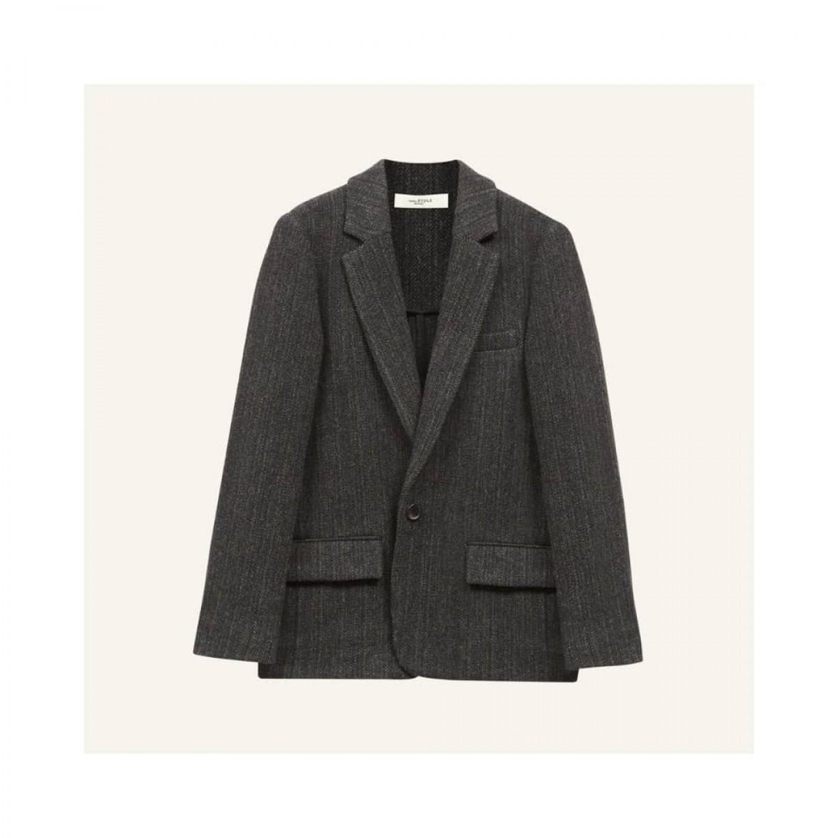 charly blazer jakke - black herringbone - front