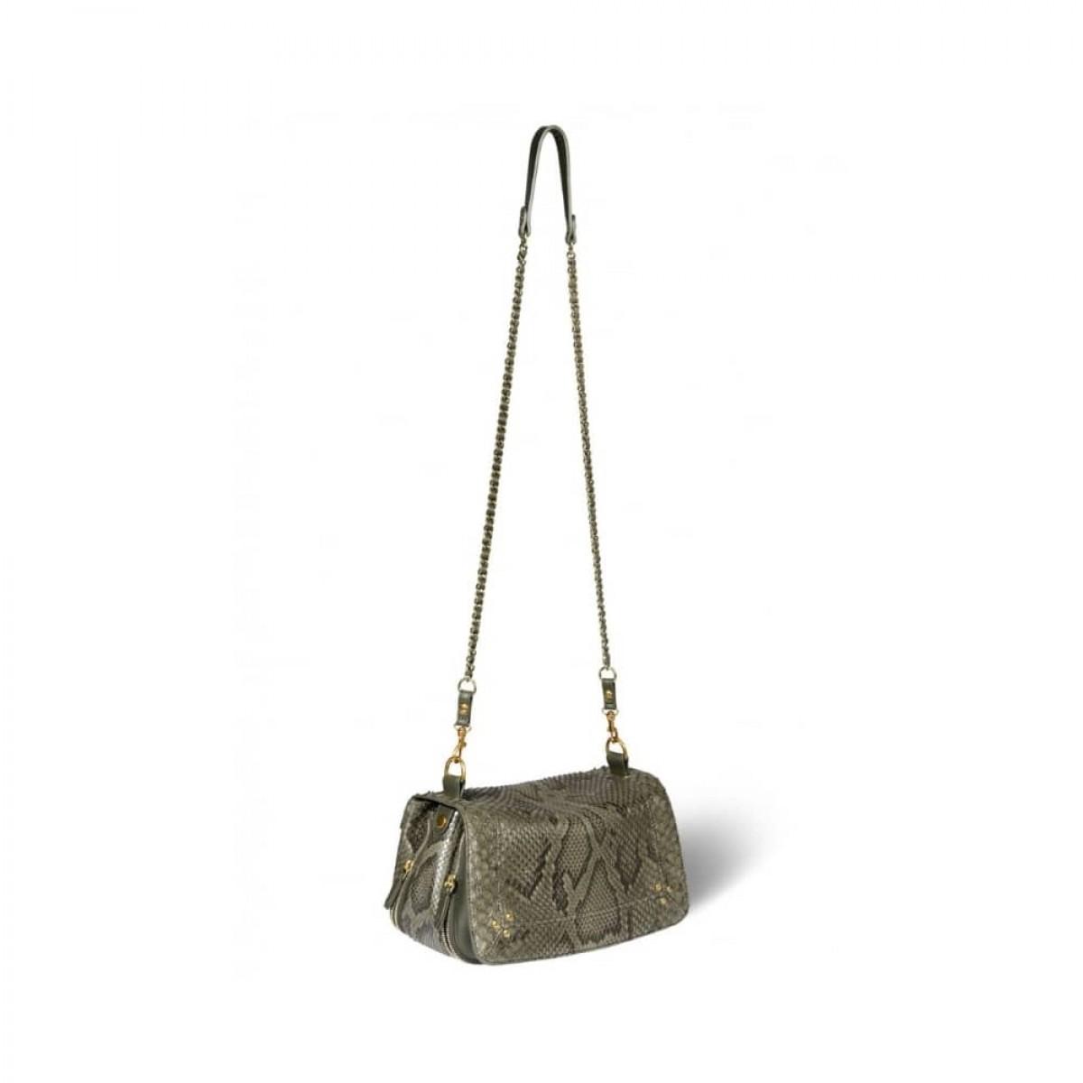 bobi python taske - olive - med kæde