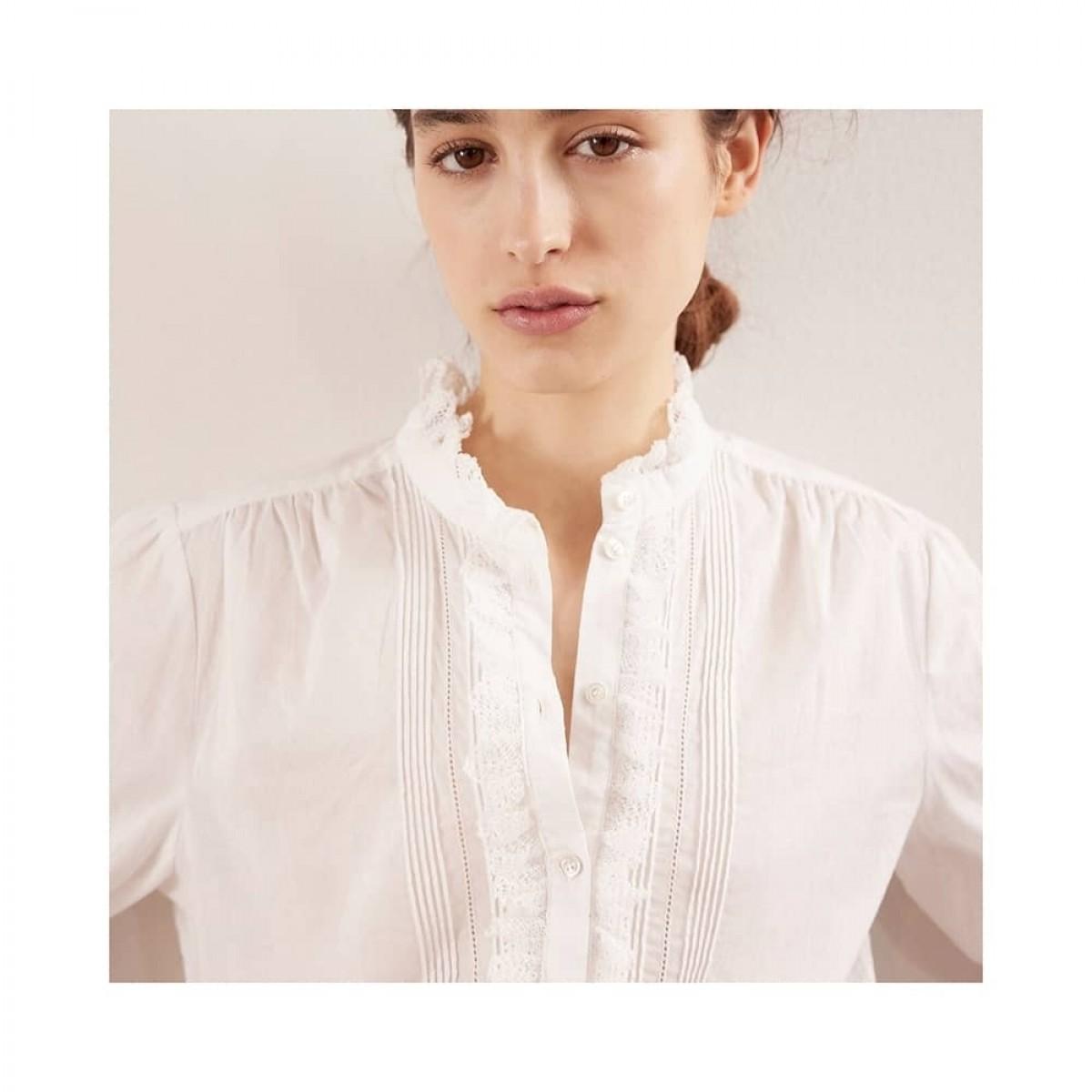 remi skjorte bluse - ecru - model detalje