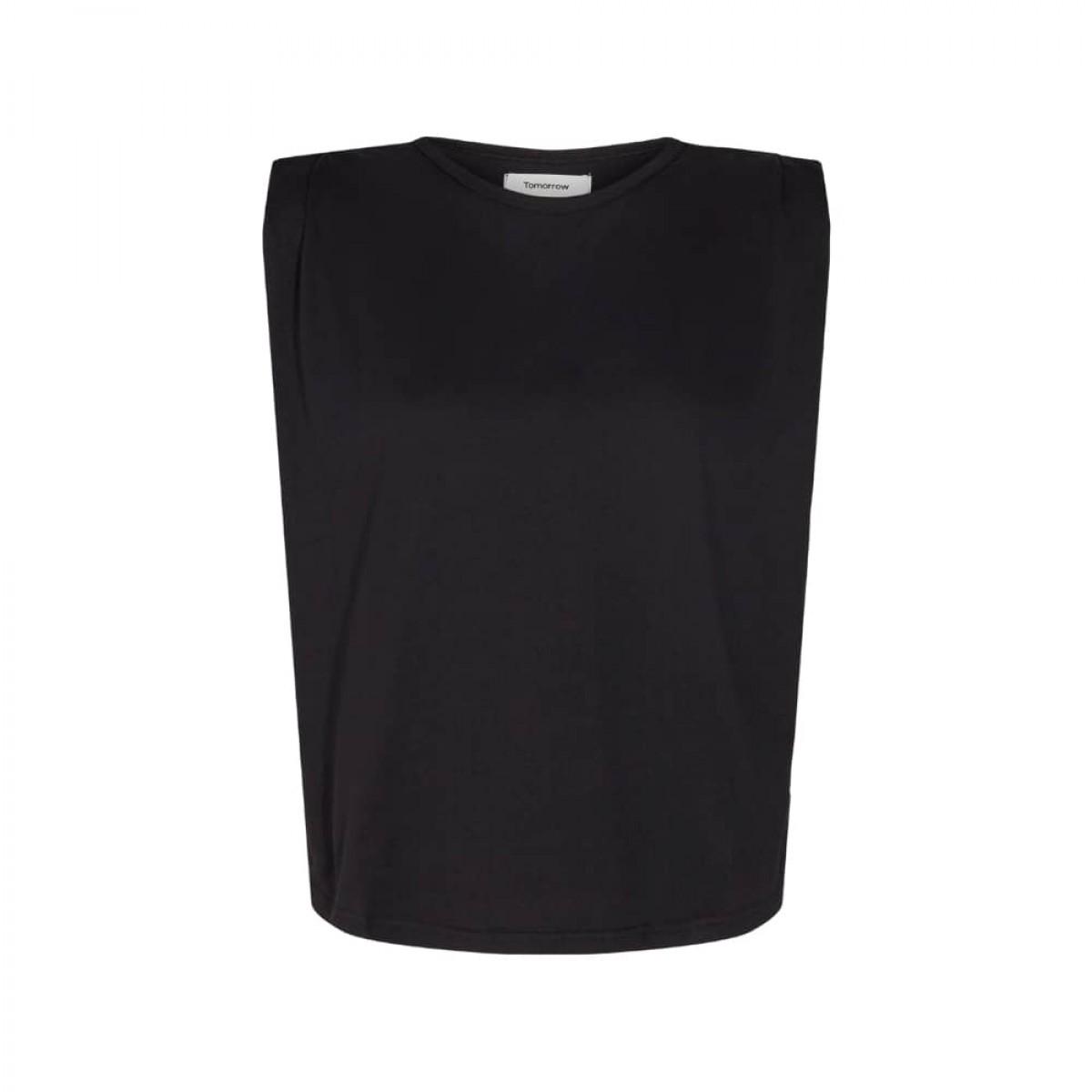 casual shoulder tee - black - front