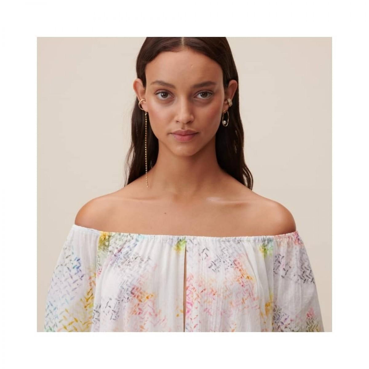 dorian kjole - rainbow kufiya - model hals lukning