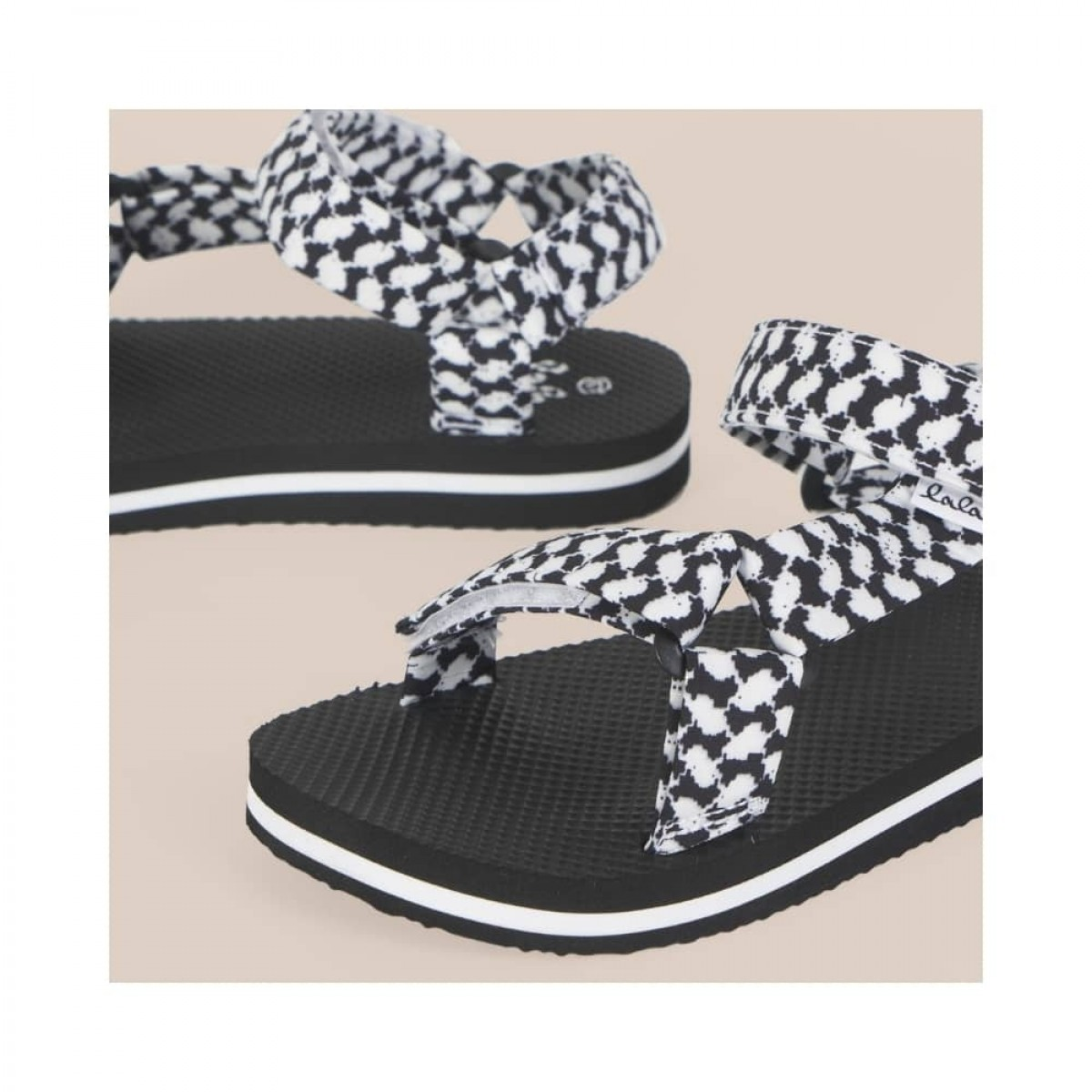 sandals alanis - black - print detalje