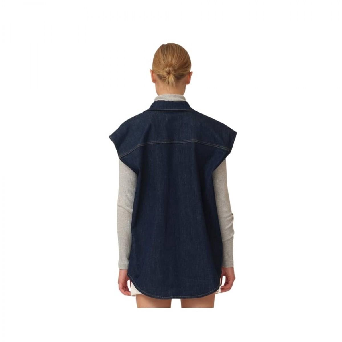 bowie oversize sl. less shirt - denim blue - model ryg