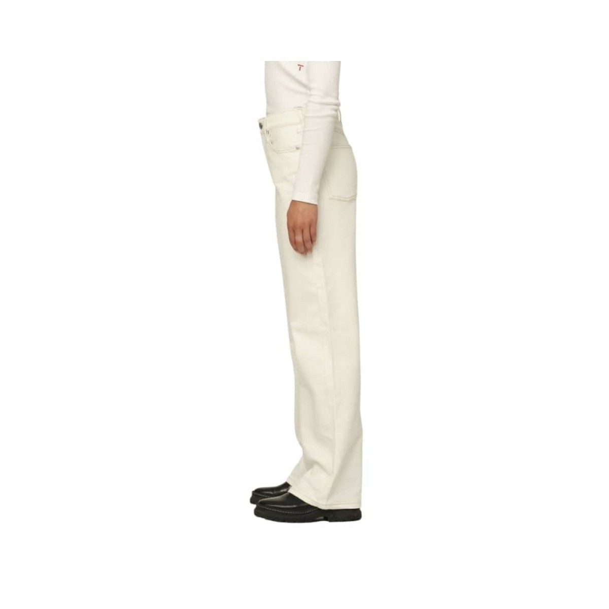 brown straight jeans - ecru - model fra siden