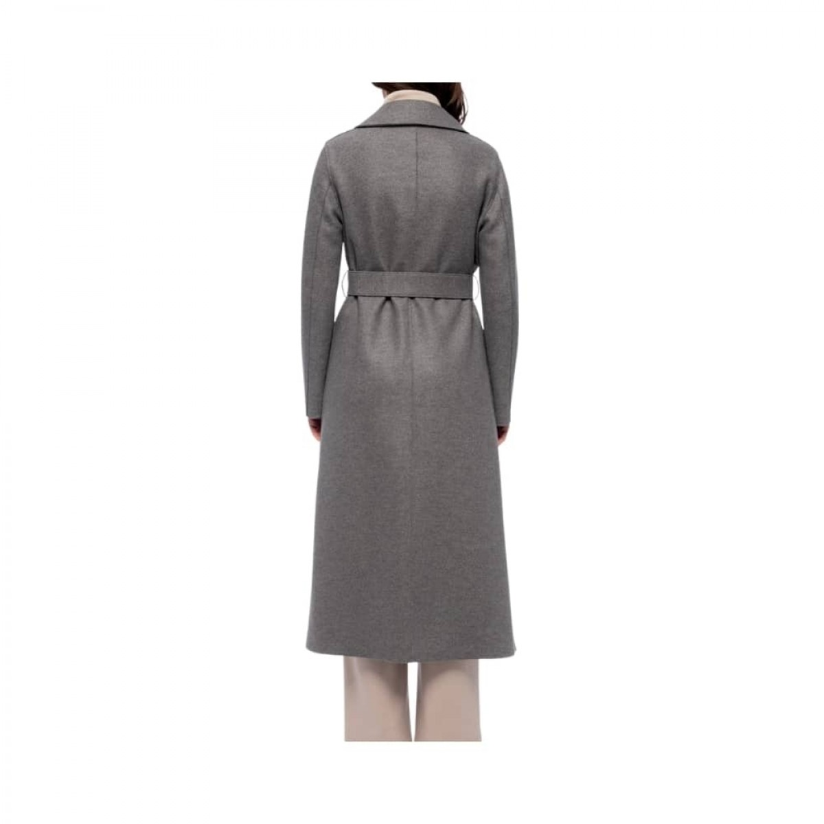 long maxi coat pressed wool - grey melange - model ryg