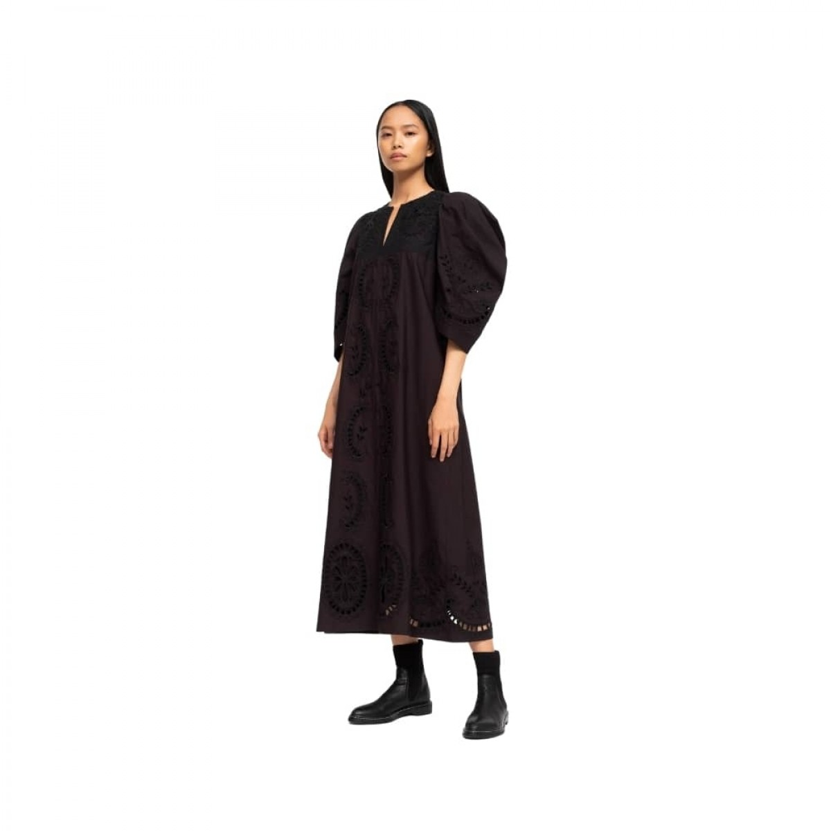 santos eyelet dress - black - model 1