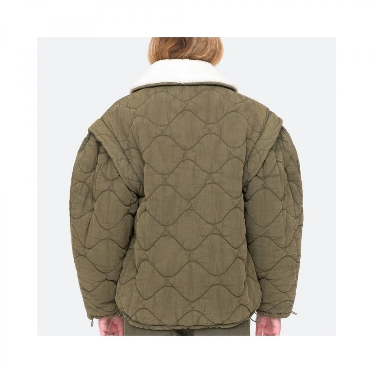 layla quilted jacket - army - model ryggen
