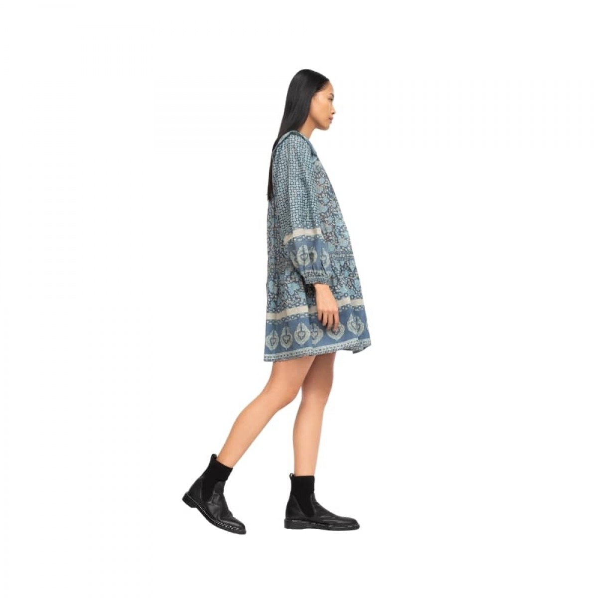 margo border tunic dress - ocean - model fra siden