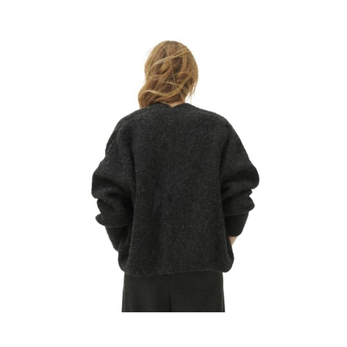 east strik cardigan - charcoal melange - model ryggen