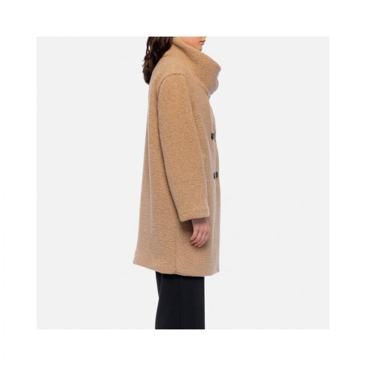 funnel collar coat bouclé - tan - model fra siden