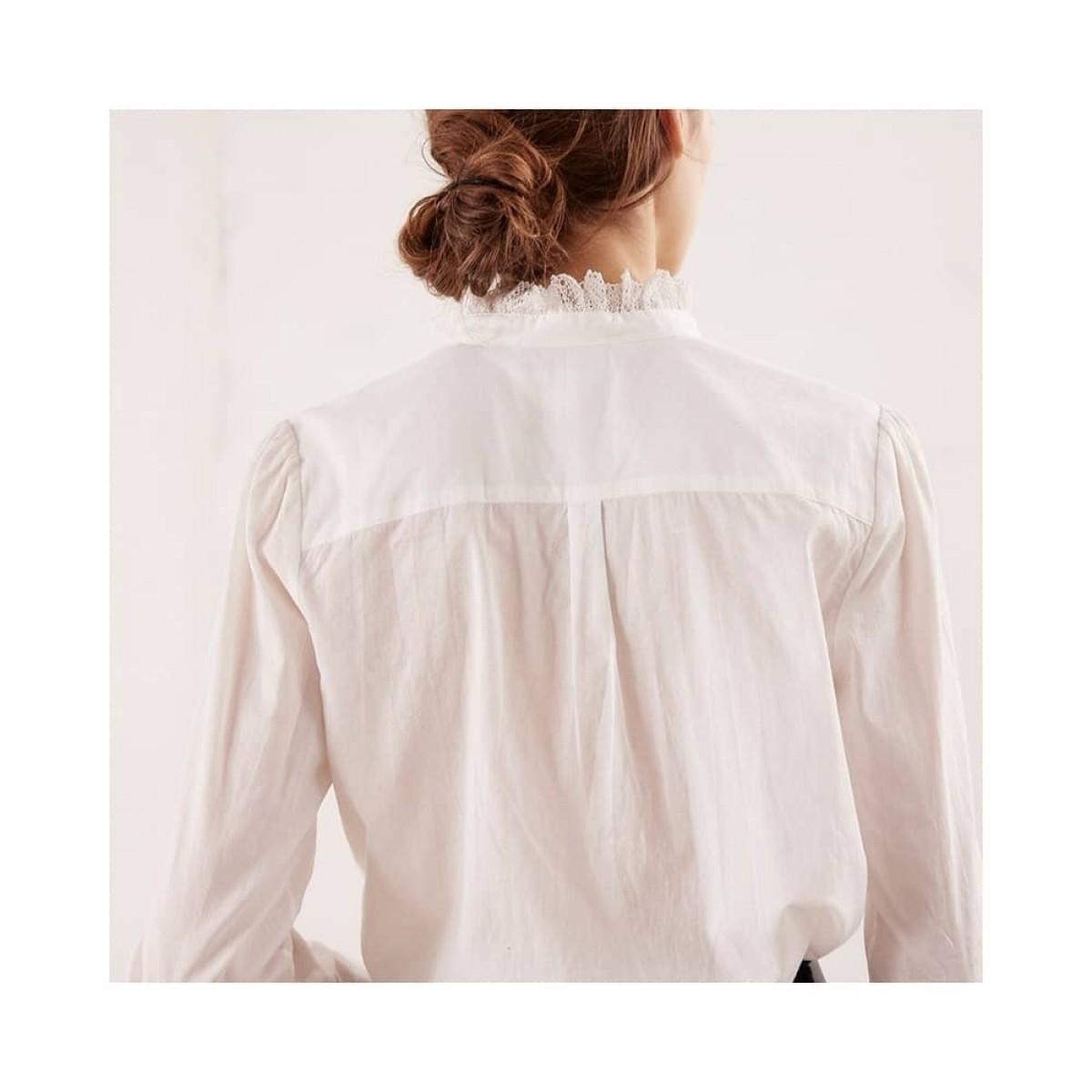 remi skjorte bluse - ecru - model ryg