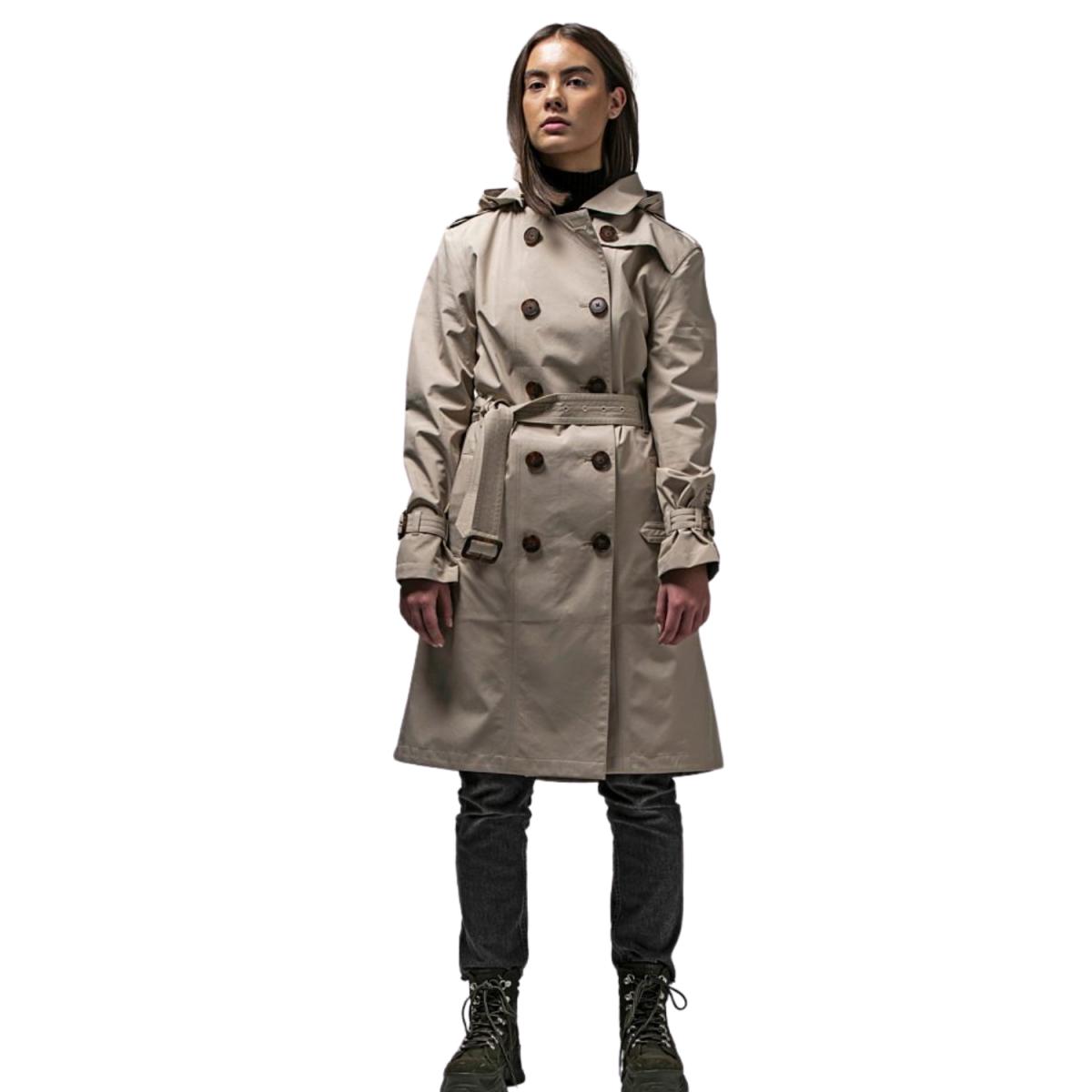 vigra regn frakke beige - model billede - front