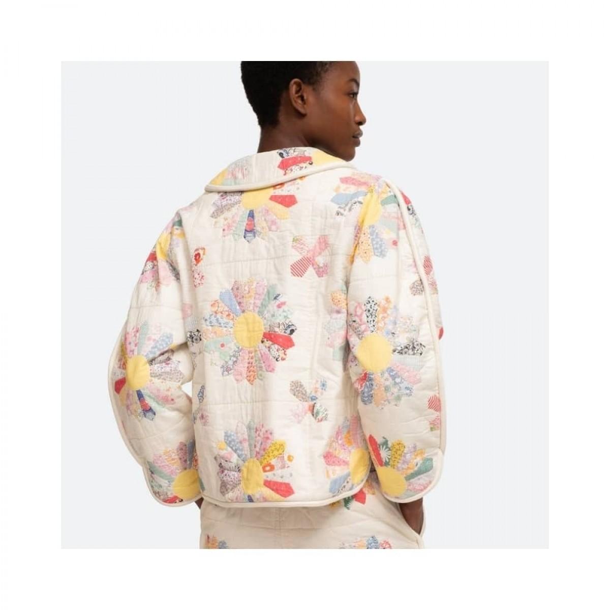 linden jacket - multi ecru - model fra ryggen