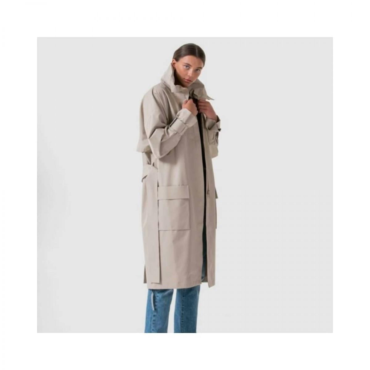 brosundet regn frakke - beige - model med krave