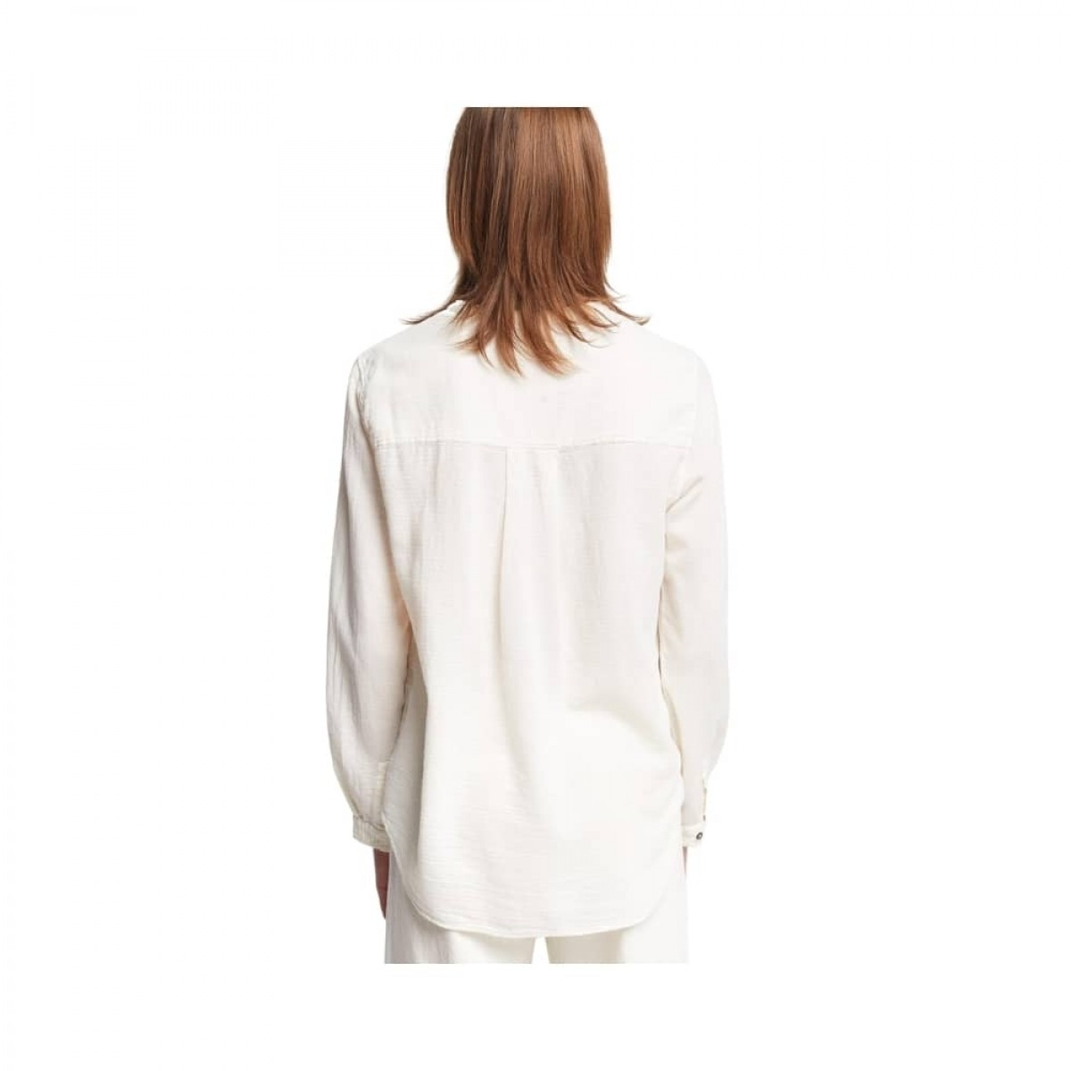 ensfarvet skjorte pomandére - ecru - model ryg