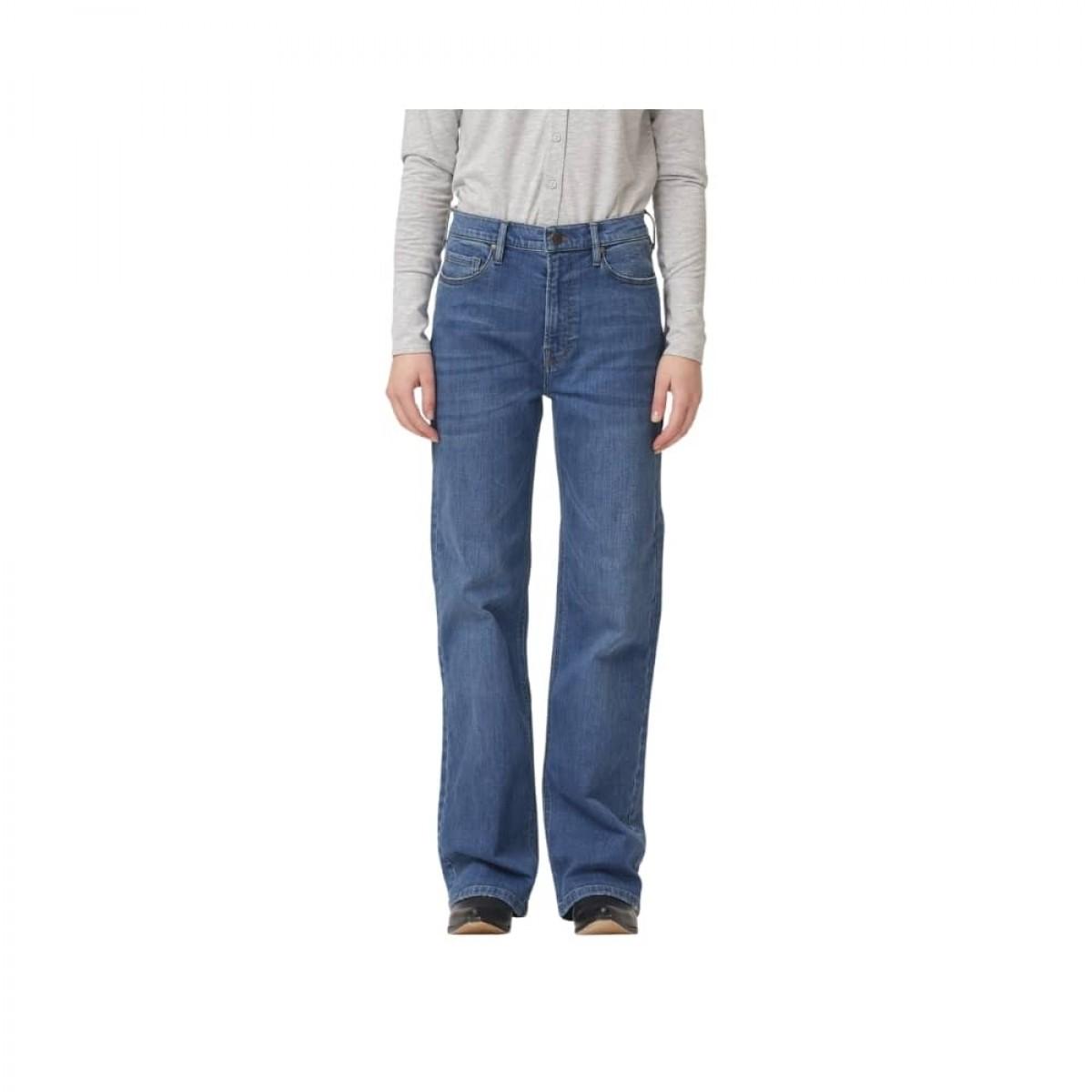 brown straight jeans - prato - denim blue - model 1