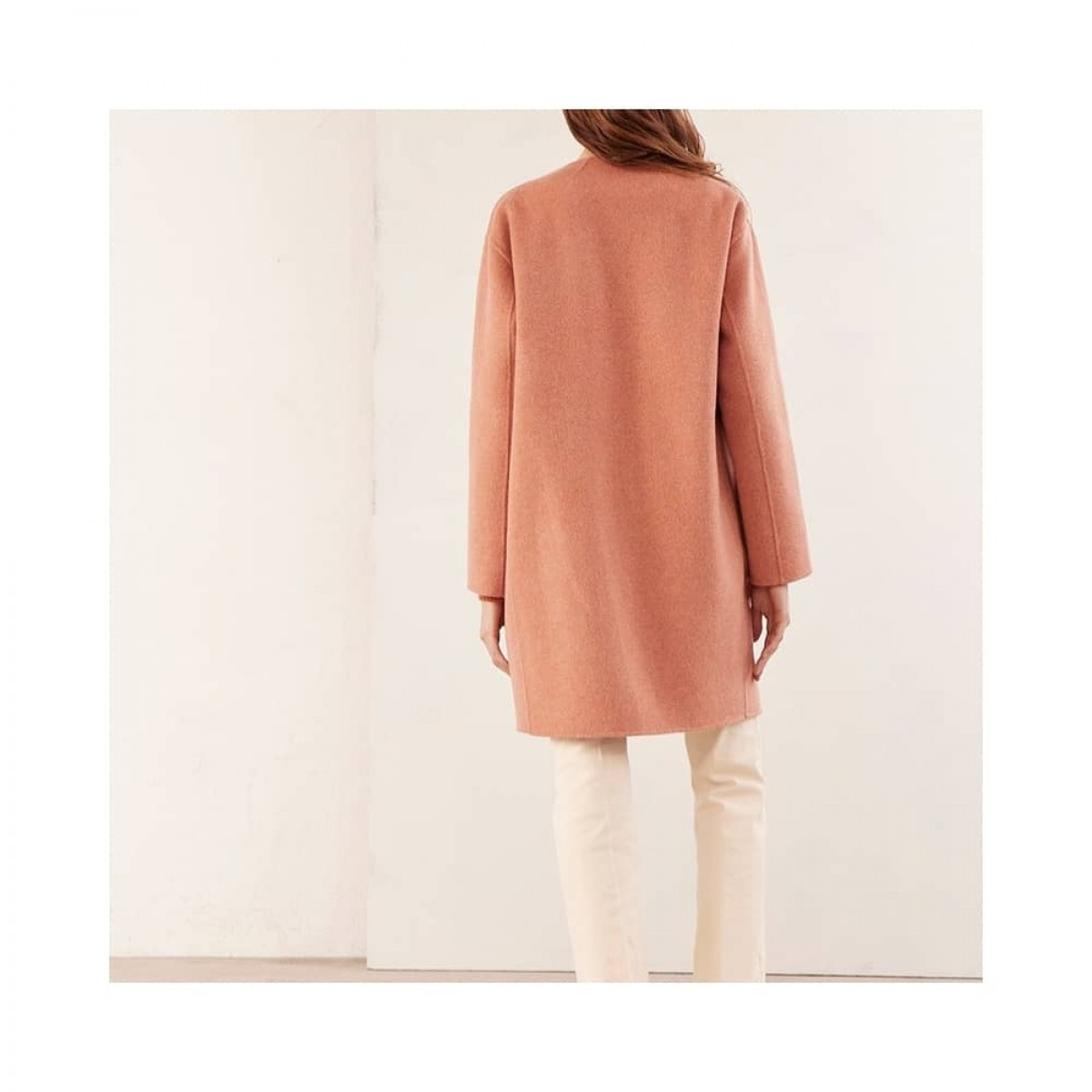 rino uld jakke - rose - model ryg