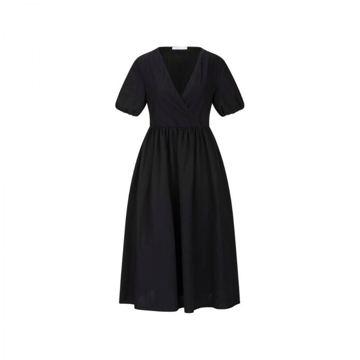 v neck dress with puff sleeves - black - front