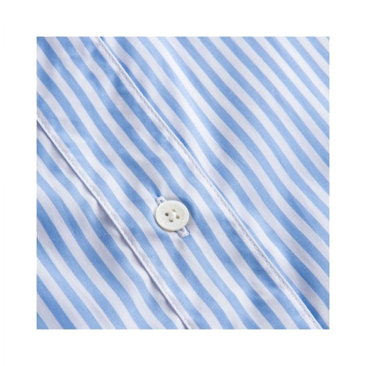 silje kort ærmet skjorte - light blue/white stripe - knap detalje