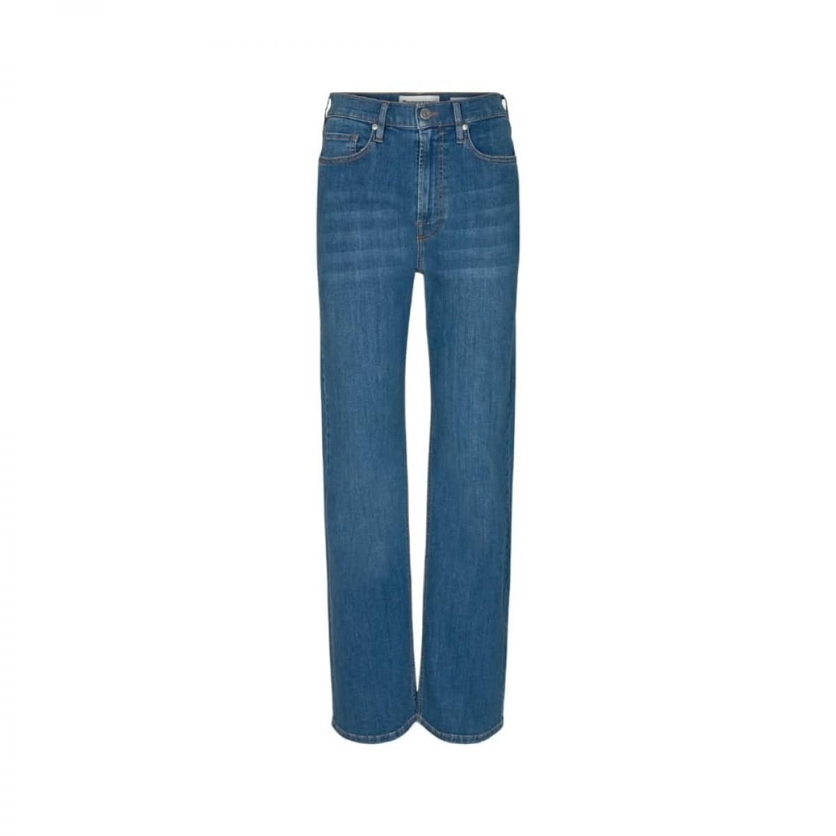 brown straight jeans - denim blue - front