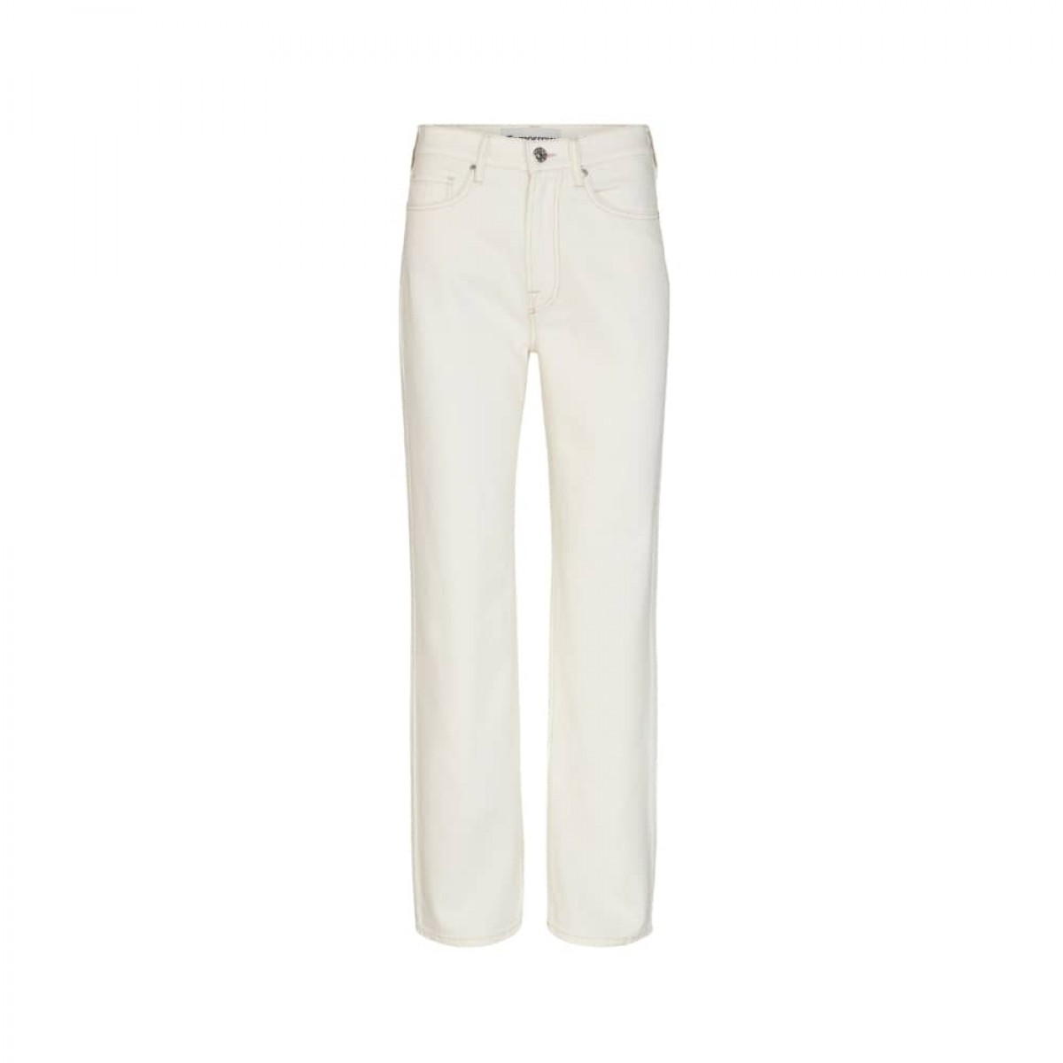 brown straight jeans - ecru - front
