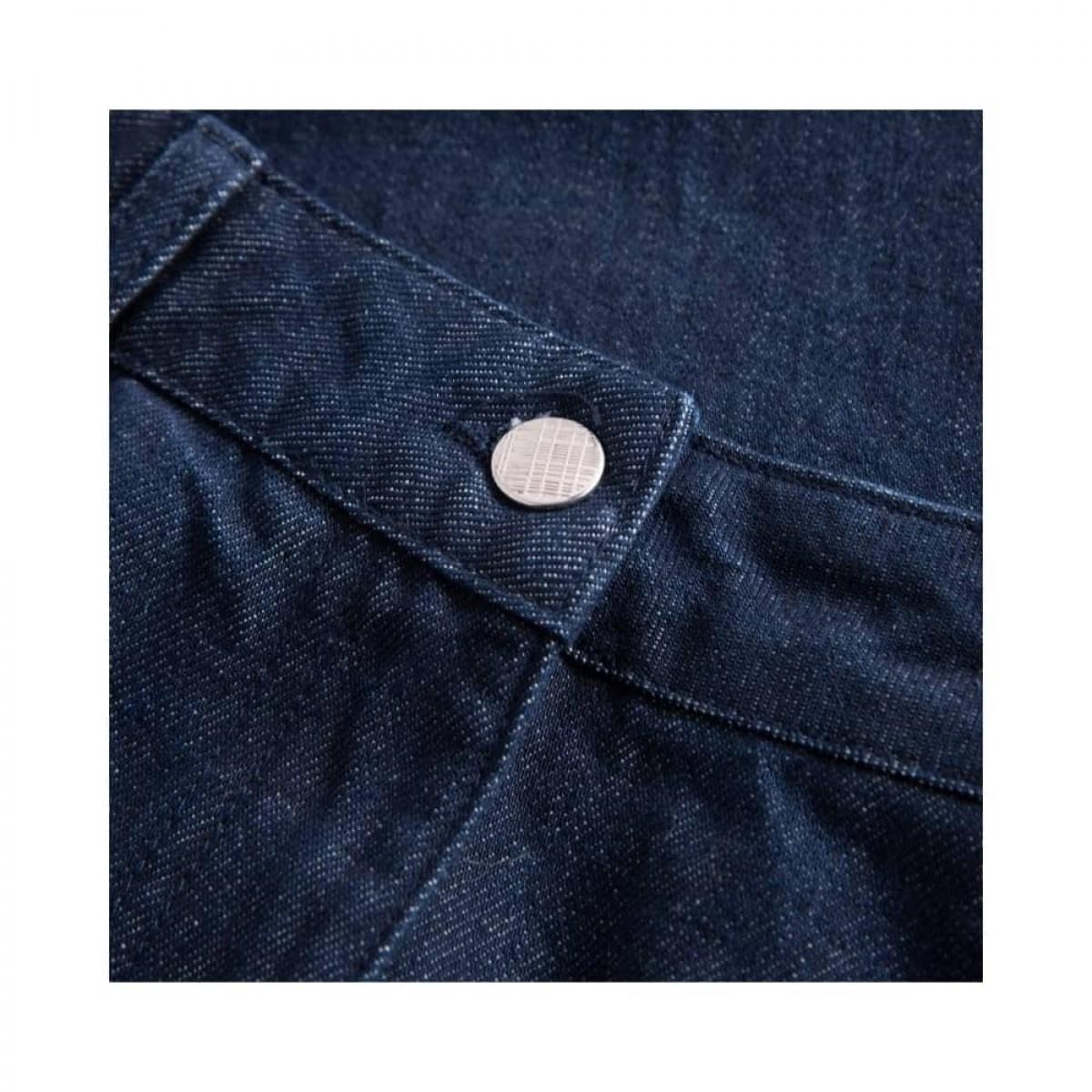 aston pants - denim blue - knap detalje