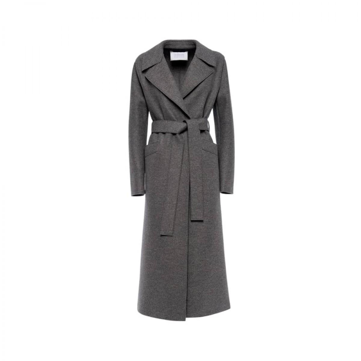 long maxi coat pressed wool - grey melange - front