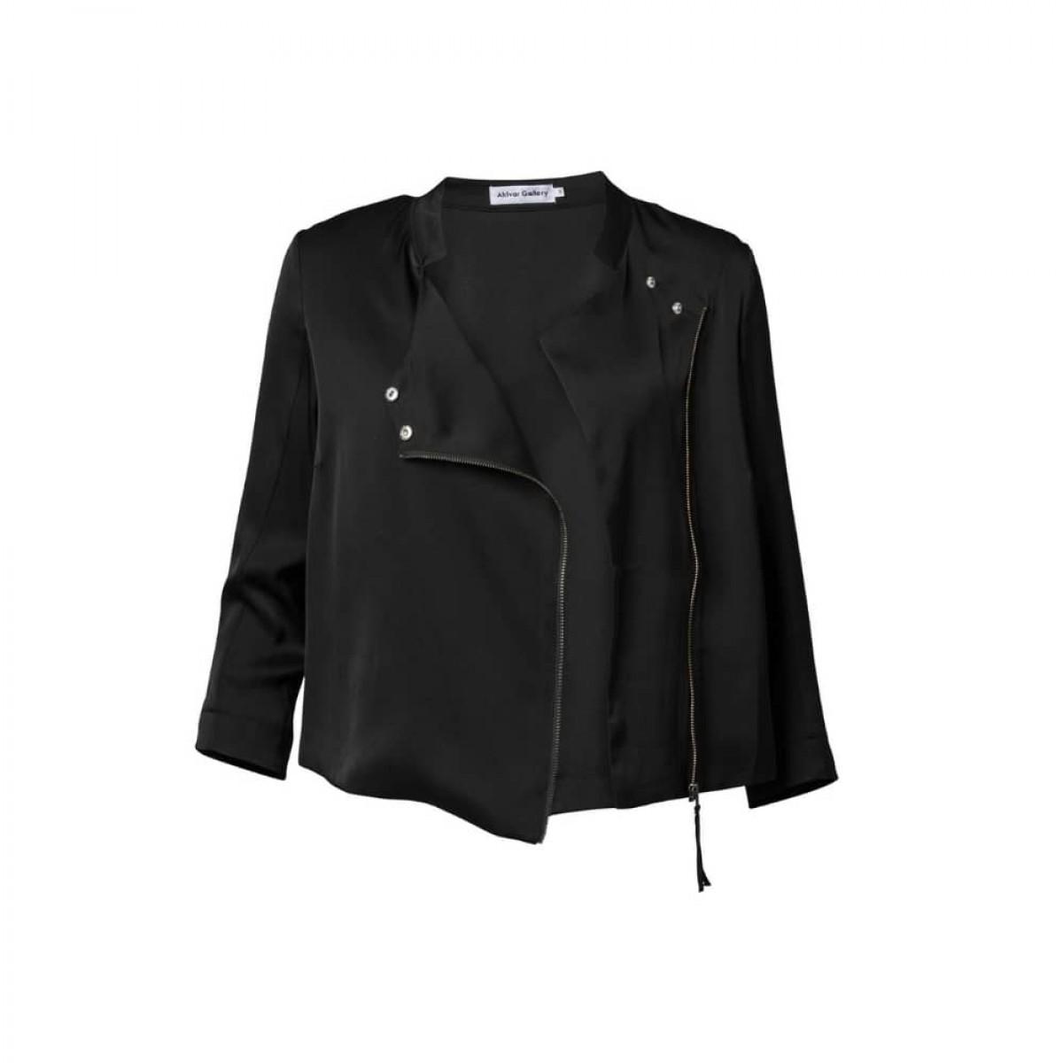 chana hammeres biker jacket - black - front jakke