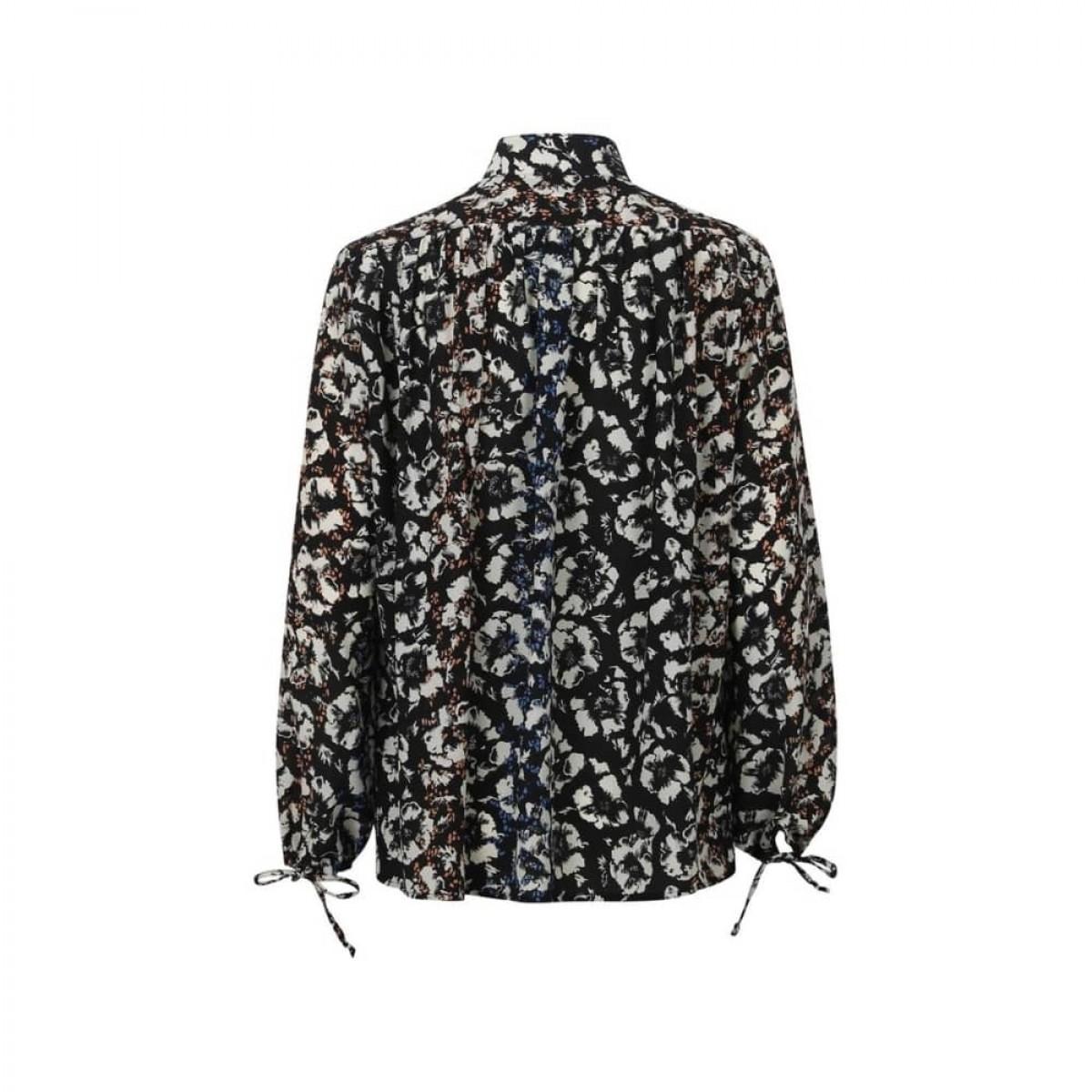 fifi bluse - black flowers - bag