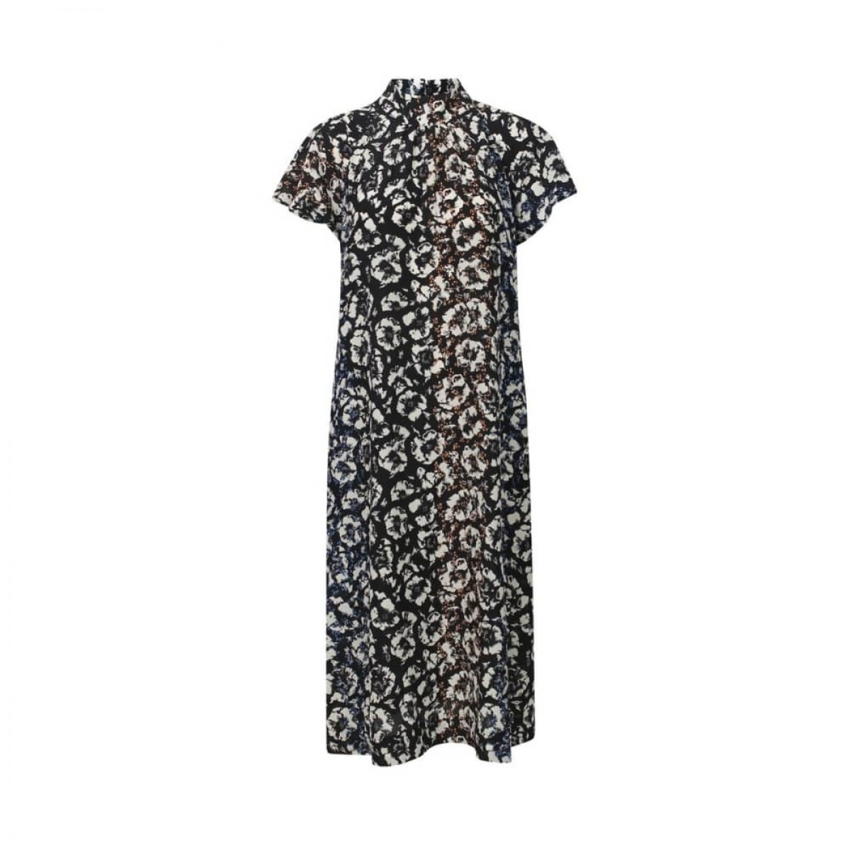 isabelle kjole - black flowers - front