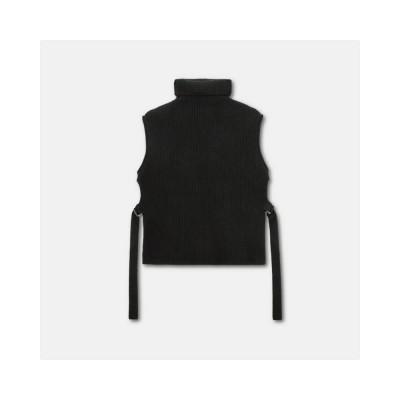 wool high neck gilet vest - black