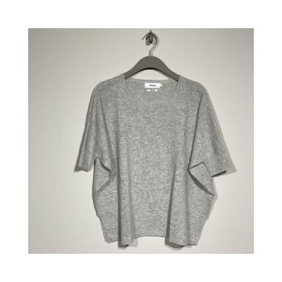 alma strik poncho - light grey melange