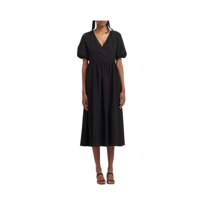 v neck dress with puff sleeves - black